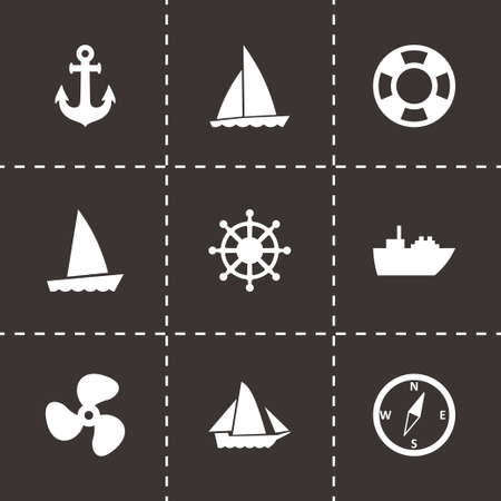 inflate boat: Vector ship and boat icon set on black background Illustration