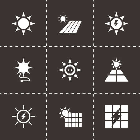 Vector solar energy icon set on black background Vector