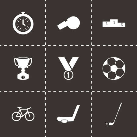 Vector sport icon set on black background Vector
