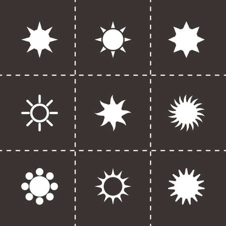 Vector sun icon set on black background Vector