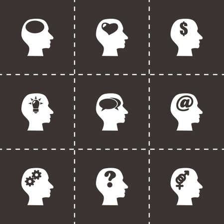 Vector thoughts icon set on black background Vector