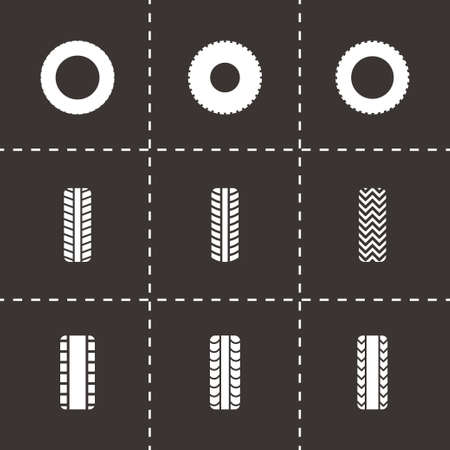 low tire: Vector tire icon set on black background