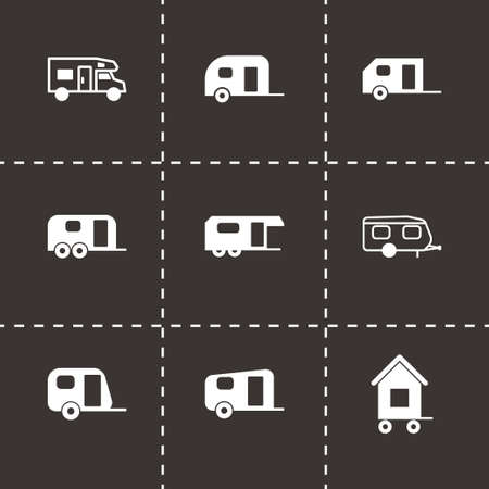 Vector trailer icon set on black background Vector