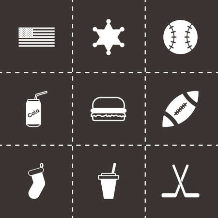 Vector usa icon set on black background Vector