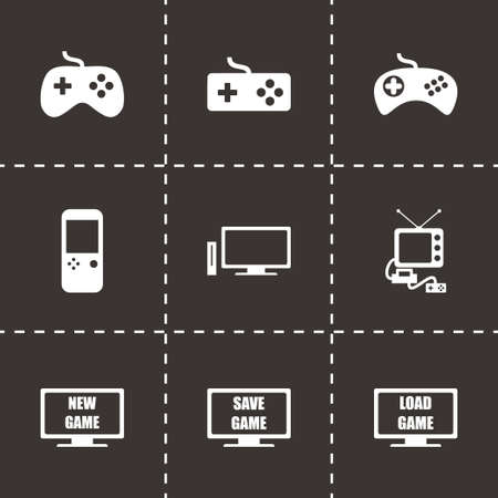 Vector video game icon set on black background Vector