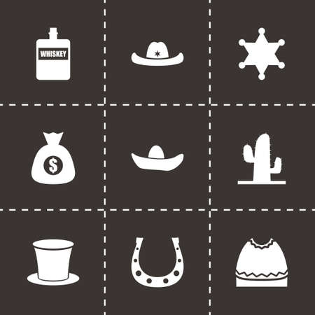Vector wild west icon set on black background Vector