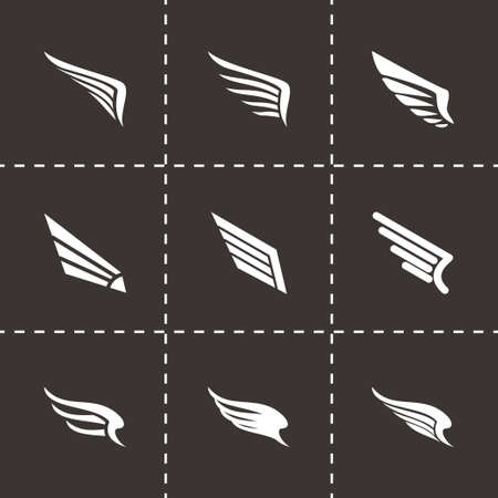 Vector wing icon set on black background