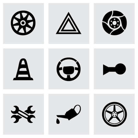 Vector car parts icons set on grey background