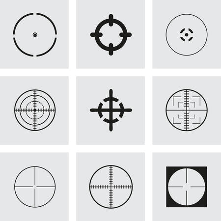 radar gun: Vector crosshair icons set on grey background Illustration