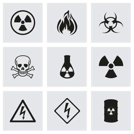 flammable warning: Vector danger icons set on grey background