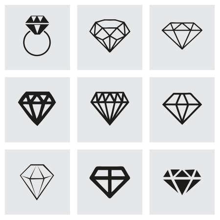 karat: Vector diamond icons set on grey background