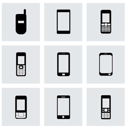 cell phone transmitter tower: Vector mobile icons set on grey background