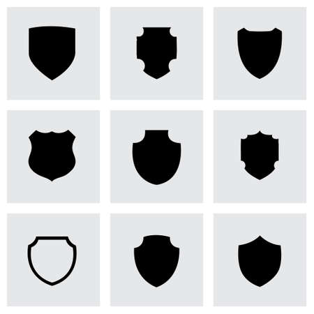 Vector shield icon set on grey background
