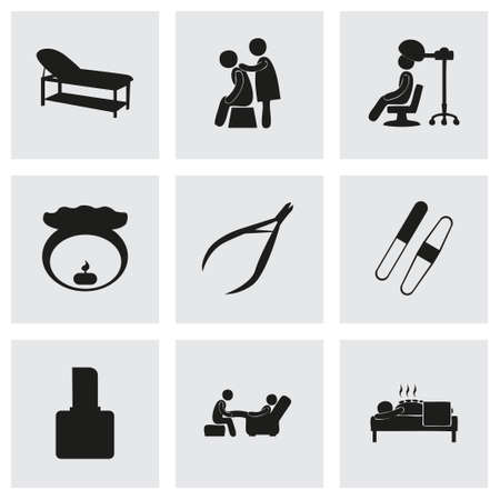 feet care: Vector spa icon set on grey background