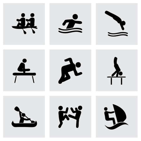 Vector sport icon set on grey background Vector