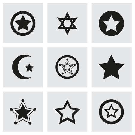 Vector stars icon set on grey background