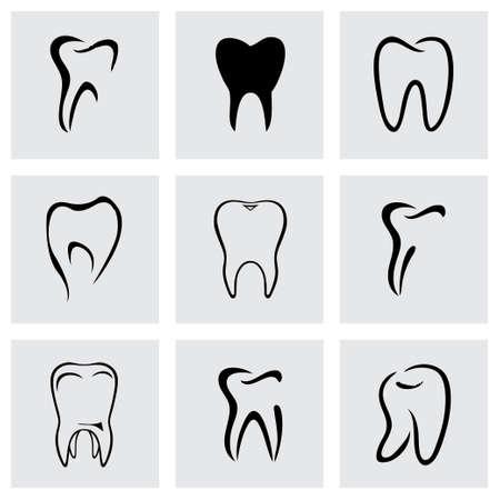 diente: Vector icono dientes establece sobre fondo gris