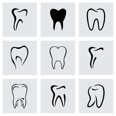 tooth pain: Vector teeth icon set on grey background