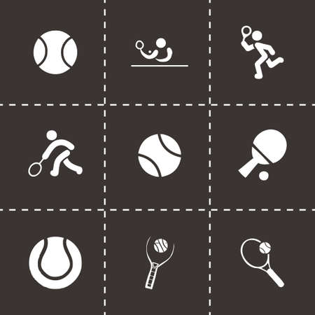 tenis: Vector tennis icon set on black background