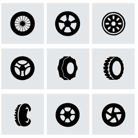 Vector tire icon set on grey background