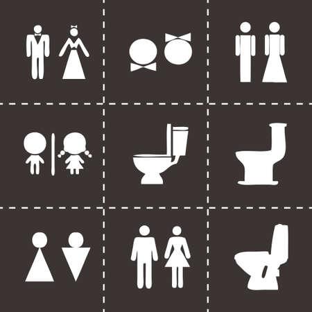 Vector toilet icon set on black background Illustration