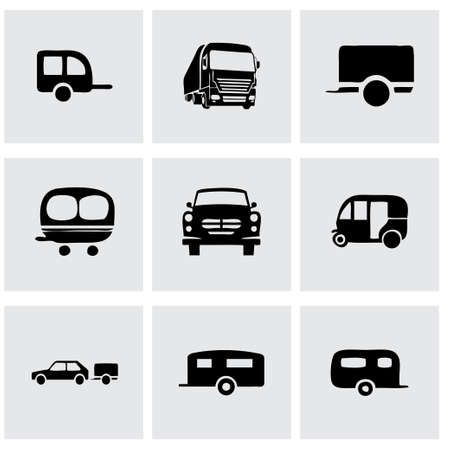 mini bike: Vector trailer icon set on grey background Illustration