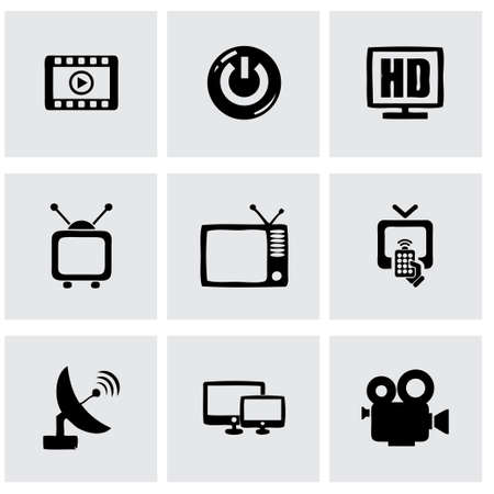 Vector tv icon set on grey background Vector