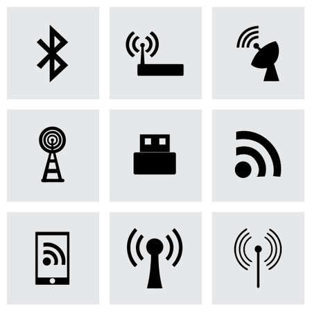 Vector wireless icon set on grey background Vector