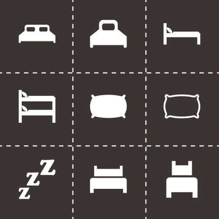 bed icon set on black background Vector