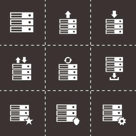 database icon set on black background Vector