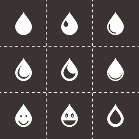 drop icon set on black background Иллюстрация