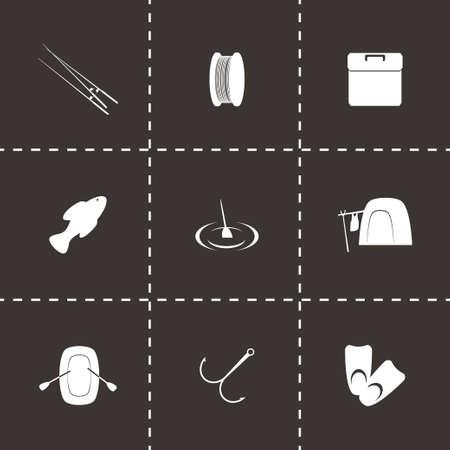 fishing icon set on black background Vector
