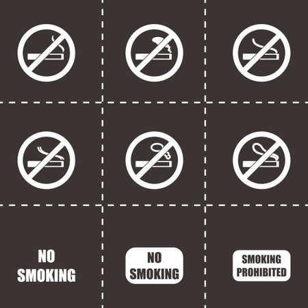 pernicious habit: no smoking icon set on black background