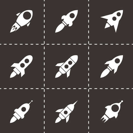 rocketship: rocket icon set on black background Illustration