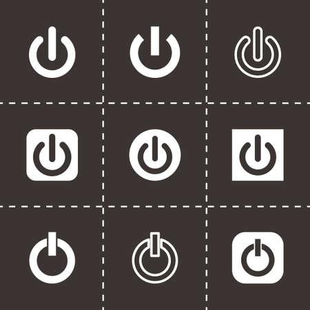 shut down icon set on black background Vector