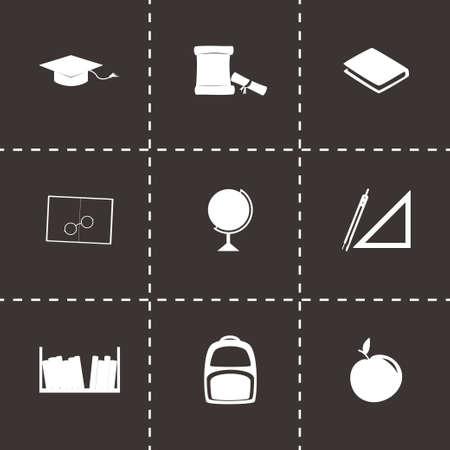 study icon: icono de estudio establecido en el fondo negro