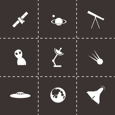 space icon set on black background Vector