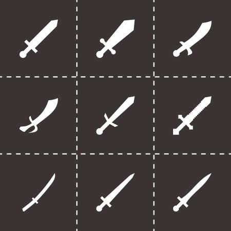 iron cross emblem: sword icon set on black background