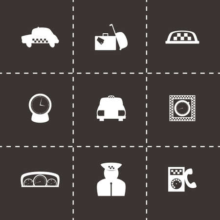 taxi icon set on black background Vector