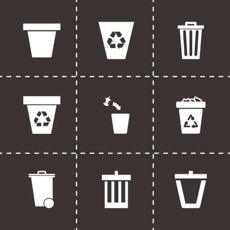 trashing: trash can icon set on black background