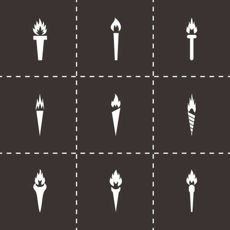 torch icon set on black background Vector
