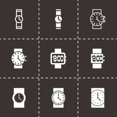 wristwatch icon set on black background Vector