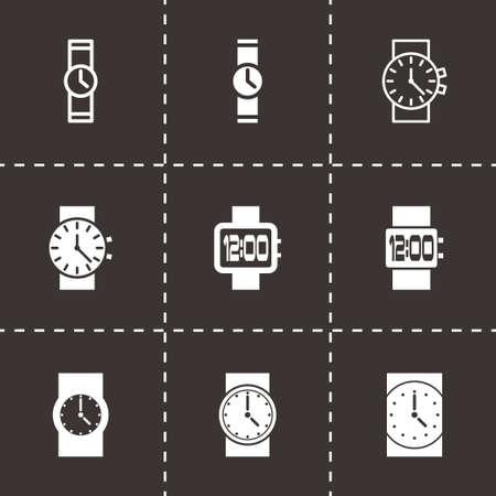 wristwatch icon set on black background Vector