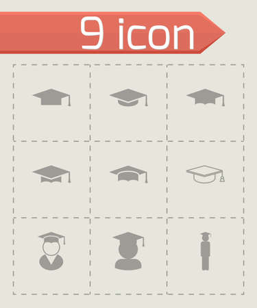 mortar cap: black academic cap icon set on grey background Illustration