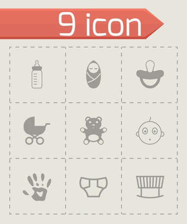 black baby icons set on grey background Illustration
