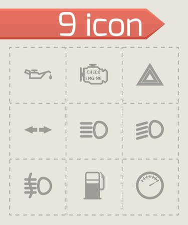dashboard: black car dashboard icon set on grey background