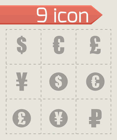 renminbi: black currency symbols  icons set on grey background