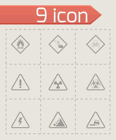 laser hazard sign: black danger icons set on grey background