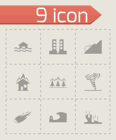 Vector black disaster icons set on grey background Vector
