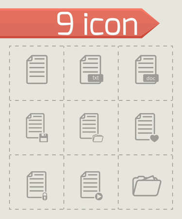 documentation: black documents icon set on grey background Illustration